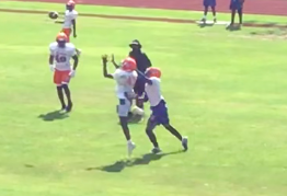 Belaire Senior Safety Avante Givens (right) preparing to break up a pass during practice.