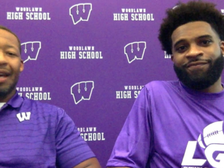 Woodlawn Head Coach Marcus Randall (left) and Gridiron Football's Jacob Stewart (right)